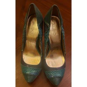 Aldo teal snake print heels